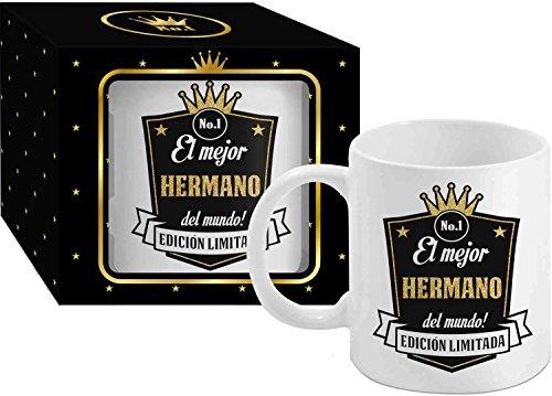 Taza Cerámica para Desayuno en Color Blanco de 300 ml, Un Regalo Original para Familia y Amigos - 'El mejor HERMANO del mundo!'