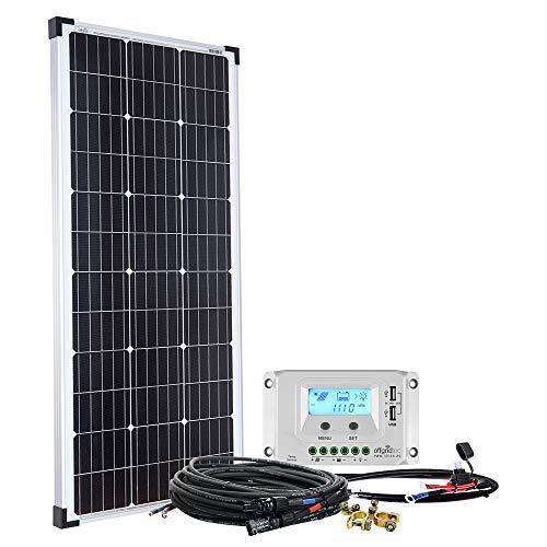 Offgridtec Solaranlage basicPremium-L 100W mit 20A LCD Laderegler Profi Kabelkit