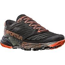 La Sportiva Akasha–Zapato Hombre Mountain Trail Running–Black/Tangerine, Hombre, Nero/Giallo, 44.5