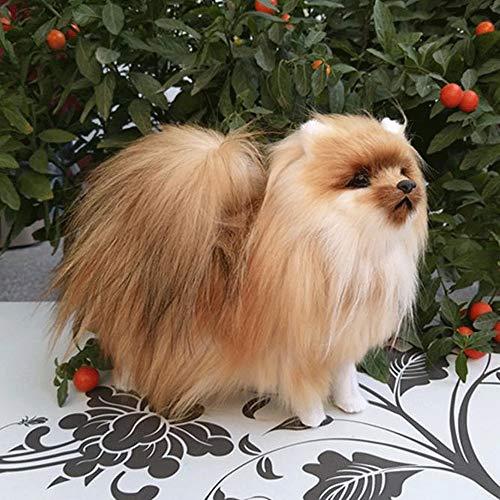 DXMRWJ Peluche Simulazione Giocattolo for Cani Polietilene E Pelle Colore Naturale Pomerania Regalo for Bambole Circa 23X20Cm