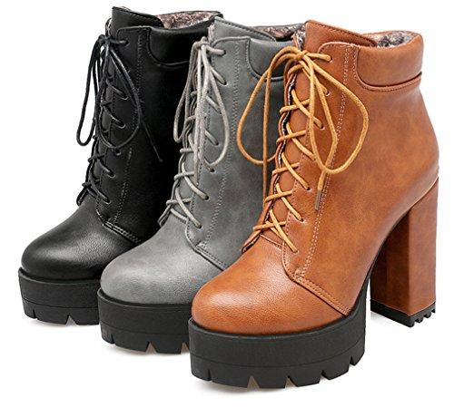 YE Damen Chunky High Heels Plateau Stiefeletten mit Blockabsatz Zum schnüren 11cm Absatz Ankle Boots Schwarz