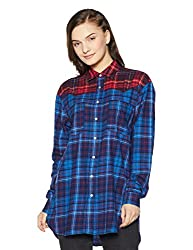 Tommy Hilfiger Womens Button Down Shirt (A7AWW128_Tommy Tartan Small Blue_M)