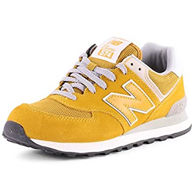 new balance 574 baskets pour femme jaune jaune moutarde 36 chaussures et sacs. Black Bedroom Furniture Sets. Home Design Ideas