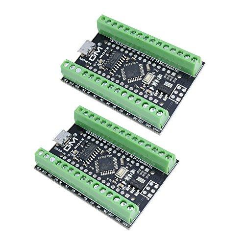 Diymore 2PCS Nano V3.0 CH340G ATmega328P Scheda di Sviluppo Espansione Microcontroller Modulo 16 M 5 V Micro USB per Arduino Nano V3.0 Con Nano Terminal Adapter I / O Shield Board