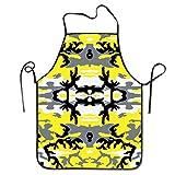 Funny DIY Lätzchenschürze Woodland Yellow Camo Küchenschürze Wasserdicht für Kochen Chef Baker Server BBQ Craft Männer oder Frauen 50,8 x 71,1 cm