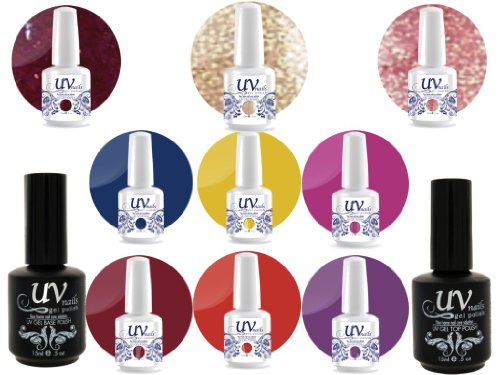 UV Nail Gel Proffesionel Collection Bollywood Celebration 3 Paillettes Vibrante+6 Gels+Base&Top+Polissoir a Ongles Aviva