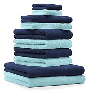 10 tlg Handtuch Set Classic Premium Farbe Dunkel Blau & Türkis 100% Baumwolle 2 Seiftücher 2 Gästetücher 4 Handtücher 2 Duschtücher