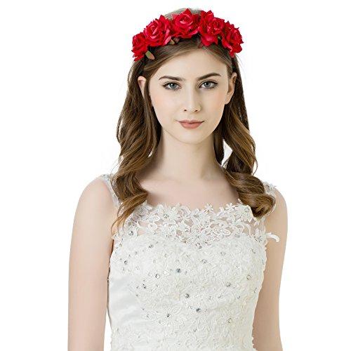 AWAYTR Mädchen Braut Blumenkrone Stirnband Haarband Blumen Girlande Kopfstück zum Hochzeit Parteien (Rot)