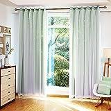 ZAIYI Vorhänge Voile Blackout Sterne Double Dream Princess Vorhänge Bodenhohe Fenster,Green+Voile-2 * 2.7m