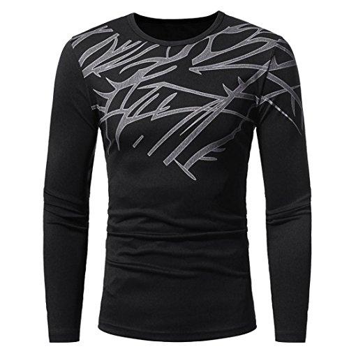 ❤️Tops Blouse Homme T-shirt, Amlaiworld Hommes Automne Tops Blouse d'impression de mode T-shirt à manches longues (M, Noir)