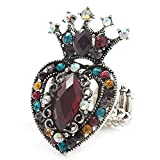 Duración de la corona de Diamante Multicloured y corazón anillo elástico