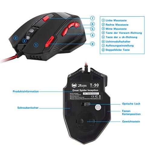 Gaming Maus, ECHTPower Computer Laser Optische Gaming Mouse, 9200DPI PC Gamer Maus mit einstellbarer DPI, 8 Stk. Gewichten, LED Beleuchtung, 8 Tasten, USB kabelgebundene, Groß, Rechtshänder - 7