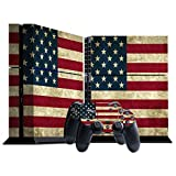 Stillshine Vinyl Decal Full Body Skin Sticker For Sony Playstation 4 PS4 console x 1 and controllers x 2 (Flags USA Retro)