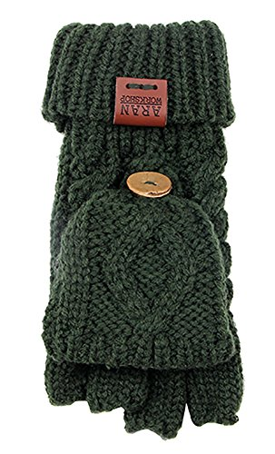 Aran Workshop Bottle Green Foldover Cable Knit Fingerless Mitts - Cable Knit Mitt