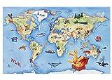 Hase Felix Kinderteppich | Teppich für Kinder mit Weltkarte/Landkarte für Mädchen und Jungen, 100x160 cm