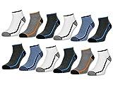 sockenkauf24 Herren Sport Sneaker Socken mit verstärkter Frotteesohle 6 oder 12 Paar - 16215 (43-46, 12 Paar | Farbmix)