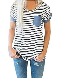 Yeamile���� Camiseta de Mujer Tops Negro Blusa de Verano Ocasionales Moda Tops de Manga Corta a Rayas Blusa Suelto Ropa de Dormir Camiseta (Blanco, S)