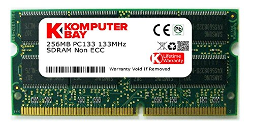 Komputerbay 256MB 133Mhz PC133 SDRAM SODIMM (144 Pin) Laptop RAM 16Mx16x16 (8 Chip-Konfiguration) - 256mb Sodimm Laptop-pc
