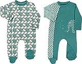 Baby Butt Schlafanzug 2er-Pack mit Druckmotiv Interlock-Jersey Mint-grau Größe 50/56