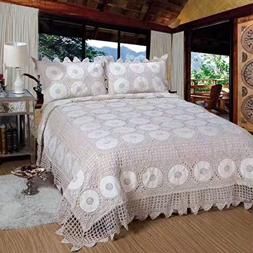 4 Stück King Quilt (WSF-quilts, 100% Baumwolle Hand häkeln Quilts Tagesdecke 3 Stück Bettdecken Cover Set King Size handgemachte Tagesdecke 4 Saison (Size : 3 Pieces 250x290CM))