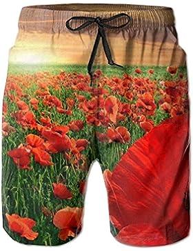 Red Poppy Flower Sunset Men's/Boys Casual Swim Trunks Short Elastic Waist Beach Pants with Pockets
