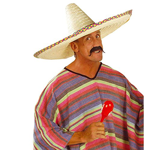 Großer Sombrero Hut Mexikanischer Strohhut XL Mexikaner Sommerhut Mexiko Riesen Gringo Partyhut Sonnenhut Tequila Party Kopfbedeckung Fasching Sommer Mottoparty Accessoire Karneval Kostüm Zubehör