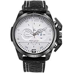 JSDDE Mens Sports Style White Dial Black Case Japanese Quartz Black Leather Band Watch 98FT/3ATM Water Resistant Business Casual
