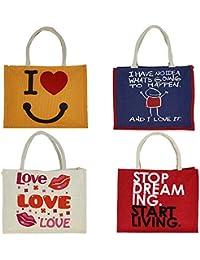 Pack Of 4 Jute Multipurpose Reusable Shopper Bags With Zipper Top Closure - Graphic Waterproof Tote Bag - (Size...