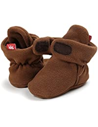 2066d0d38 Sabe Infant Boys Girls Warm Fleece Ankle Booties Soft Sole Unisex Strap  Slippers First Pram Non-Skid Winter Baby…