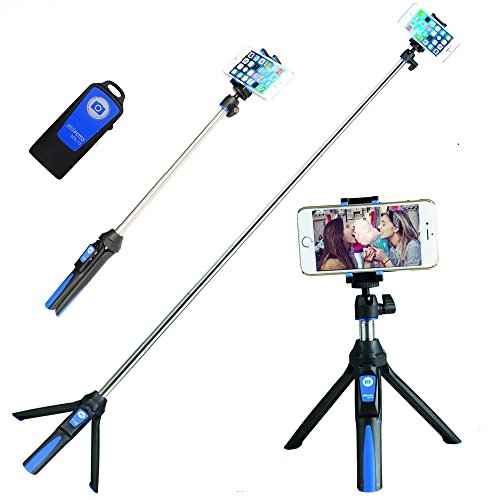 Portrait-kit Self (BENRO Handheld Tripod 3 in 1 Self-portrait Monopod Phone Selfie Stick Bluetooth Remote Shutter for Gopro iPhone Sumsang (Blue))