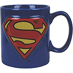 Superman - taza con el escudo - para forofos del superhéroe de DC Comics - en embalaje de regalo - 400 ml de capacidad - azul