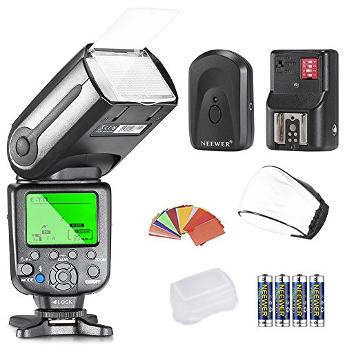 Neewer NW565EX E TTL Slave Flash Speedlite Kit per tutti modelli Canon Include Neewer Flash e Diffusore e 35pz. Filtri Colorati e Trigger e 4pz.