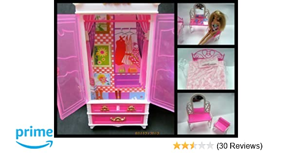 Portable Pink Child Dining Chair Toy For Barbie Doll House Furniture NIGH