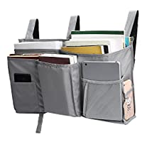 Corodo Grey Bedside Storage Caddy Hanging Organizer Bag with 8 Pockets for Bunk Beds, Hospital Beds, Dorm Rooms Bed Rails
