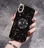 SevenPanda pour iPhone 7 Plus Case Star, Diamond Caoutchouc Doux Pare Chocs Luxe Bling Diamond Paillettes Cristal avec Support Paillettes Bling pour Les Filles (Noir, pour iPhone 8 Plus 5.5 Pouces)