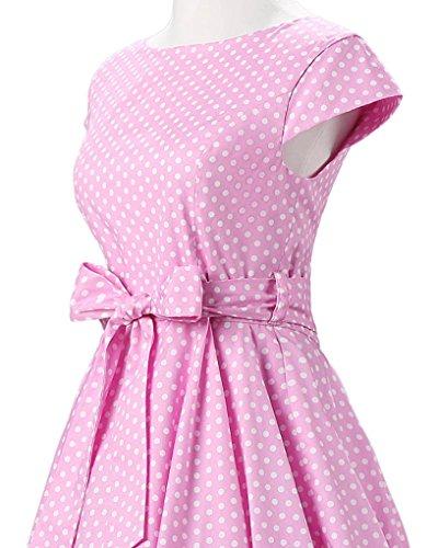 MISSMAO Femme Robe Années 50 Vintage à Pois Jupe Plissée de Soirée Cocktail Robe de Rockabilly Swing Rose Petit Blanc Point
