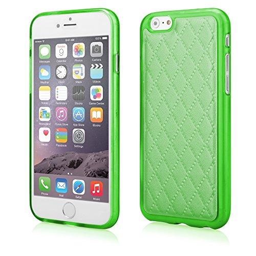 Stylische TPU Silikon Handy Back Case Schutz Hülle grün mit trendiger Kunstleder Rückseite für
