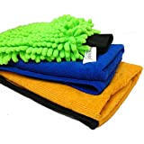 Sobby Microfiber Cleaning Cloths 3 in 1 Combo for Car Care (1 pc 40 x 40 cm 340 GSM Microfiber Cloth ; 1 Fluffy Microfibre Cloth for Detailing; 1 Big size Microfiber Glove ; Assorted Colours)