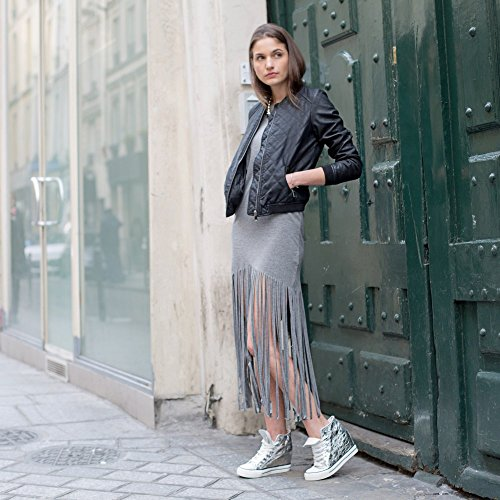 Ideal Shoes–Basket Alte e compensate effetto stropicciato Teyla Oro