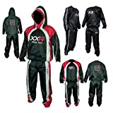 XXR Heavy Duty Sweat Suit Sauna Exercise Gym Suit Fitness weight loss and hooded (Black-Red-hooded, 2XL)