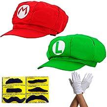 Super Mario Mütze 2x SET ROT MARIO und GRÜN LUIGI Komplettset mit Handschuhen und Klebe-Bärte für Erwachsene und Kinder Karneval Fasching Verkleidung Kostüm Mützen Hut Cap Herren Damen Kappe