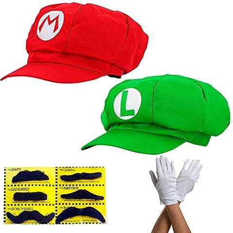 Super Mario Mütze 2x SET ROT MARIO und GRÜN LUIGI Komplettset mit Handschuhen und Klebe-Bärte für Erwachsene und Kinder Karneval Fasching Verkleidung Kostüm Mützen Hut Cap Herren Damen