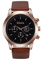 Kteta Mens Watch Leather Chronograph Sports Quartz Analog Wristwatches Brown Band