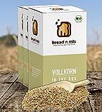 Brotbackmischung Bio Vollkorn in the Box, Vollkorn-Brot, 3er Box, Dinkel, weizenfrei, vegan, Brot Backmischung zum selber backen im Brotbackautomat oder Backofen (3 x 635 g für 3 kg Brotteig)