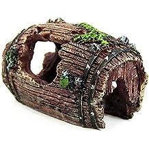 Meiliy - Figura decorativa para acuario con forma de cueva de resina, diseño de barril