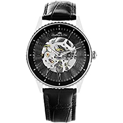 Lindberg&Sons - CHP151 - wrist watch for men - skeleton - automatic movement - analog display - black leather bracelet