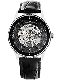 Lindberg & Sons CHP151 - Reloj análogico de pulsera - automático, de esqueleto, para hombre, correa de cuero, color negro