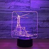 Leuchtturm Modell 3D LED Nachtlicht 7 Farbwechsel Stimmungslampe USB 3D Illusion Tischlampe Für Haus Dekorative
