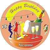 Tortenaufleger für Überraschungstorte zum Geburtstag f.Jugendliche oder Erwachsene, mit Tortenschrift HAPPY BIRTHDAY +Vorname +Alter, mit coolen Motiven: Sektgläser, Sektflasche, Cocktails, Partybeleuchtung und Tänzer, ideal für eine Diskoparty zum Juge