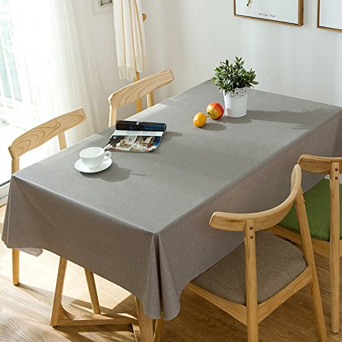 Alicemall Nappe pvc Rectangulaire Gris Nappe Résistante Nappe Imperméable Anti-tache Nappe 140x220 Linge de table Couverture de Table(21)